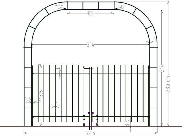 Rosenbogen mit doppelflügeliger Tür Graz 115 Breite 214 cm