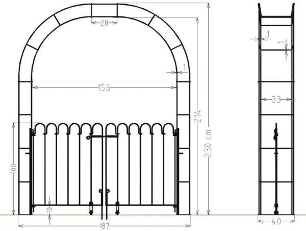 Rosenbogen mit doppelflügeliger Tür Vienna Breite 156,00 cm