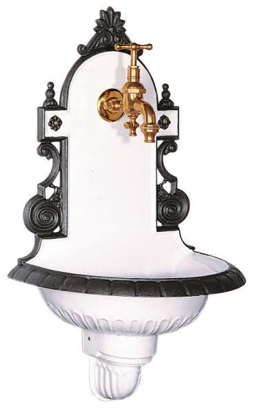 Wandbrunnen Wiener Bassena klein mit Anthrazitgrauer Umrandung