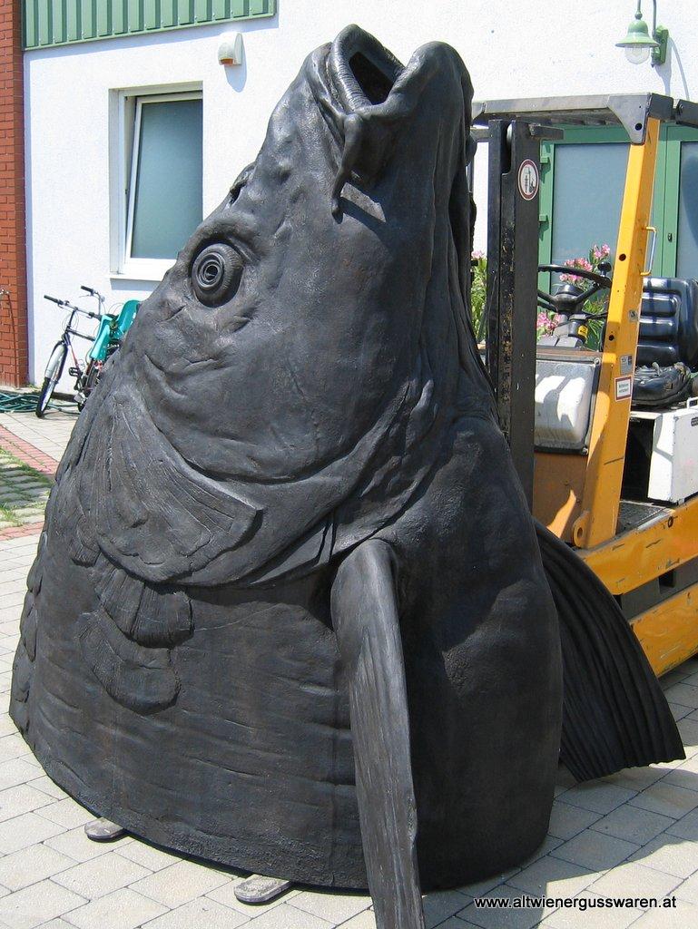 """Skulptur """"Fischkopf"""" Bronzeguss"""